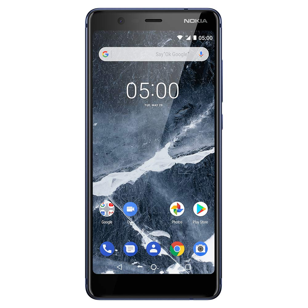 "Nokia Mobile Nokia 5.1 - Android 9.0 Pie - 32 GB - Single SIM Unlocked Smartphone (AT&T/T-Mobile/MetroPCS/Cricket/Mint) - 5.5"" 18:9 FHD+ Screen - Blue"