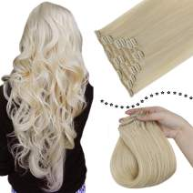 """Easyouth 20"""" Real Hair Clip in Extensions 7piece/Set 120g/Pack Platinum Blonde Full Head Hair Extension Clip on Hair Extensions 100% Remy Hair Clip ins Extension for Women"""