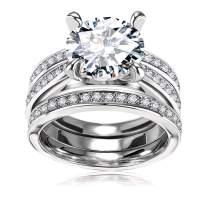 Cubic Zirconia Bridal Set - Big Round CZ White Gold Plated Women Engagement Wedding Ring Set