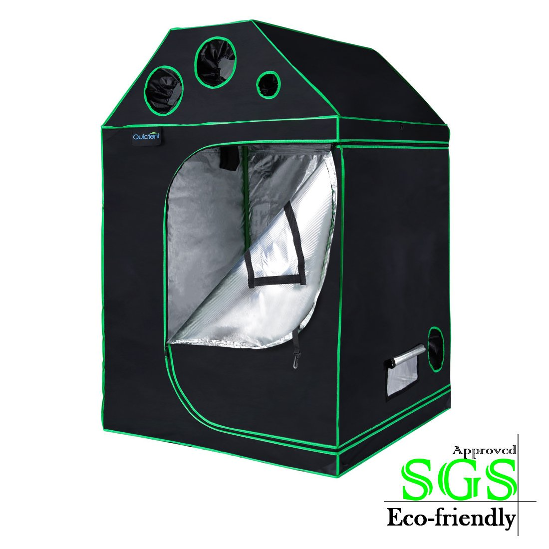 """Quictent SGS Approved Eco-Friendly Reflective Mylar Hydroponic Grow Tent with Heavy Duty Anti-Burst Zipper and Waterproof Floor Tray for Indoor Plant Growing 4 Nylon Belts Provided (48""""x48""""x71"""")"""