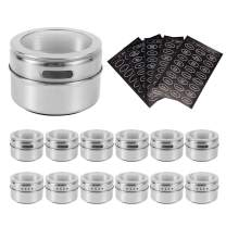 HEFANTU 12 Magnetic Spice Containers, Stainless Steel Storage Spice Tins, Magnetic Spice Rack for Refrigerator. Includes 120 Spice Labels, Clear Lid with Sift and Pour(Silver)