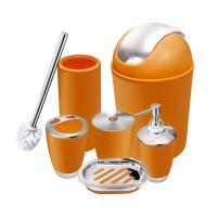 O2 Tech 6 Piece Bathroom Accessories Set,Plastic Bath Ensemble Bath Set Lotion Bottles, Toothbrush Holder, Tooth Mug, Soap Dish, Toilet Brush, Trash Can (Orange)