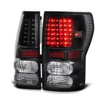 VIPMOTOZ Black Housing LED Tail Light Lamp Assembly For 2007-2013 Toyota Tundra Pickup Truck, Driver & Passenger Side