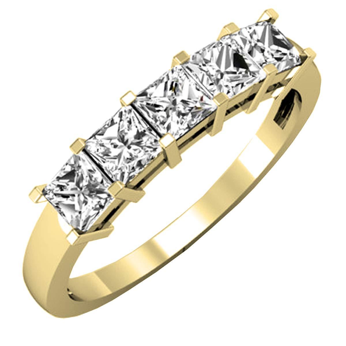 Dazzlingrock Collection 1.00 Carat (ctw) 14K Gold Princess Diamond Ladies 5 Stone Wedding Ring 1 CT