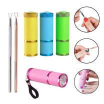 4 Pieces Mini LED Flashlight UV Lamp for Nail Art Dryer Camping and Hiking,2 Pieces Stainless Steel Triangle Stick Rod UV Gel Polish Remover,Nail Polish Set