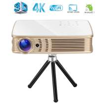 3D 4K Projector,Deeirao Portable DLP Home Theater Projector Android5.1 Support 2160P UHD Touch Button for PS4 Xbox360 Game YouTube HDMI USB GT918