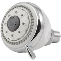 HydroSpin Fixed Shower Head - 6 Spray Settings, White & Chrome