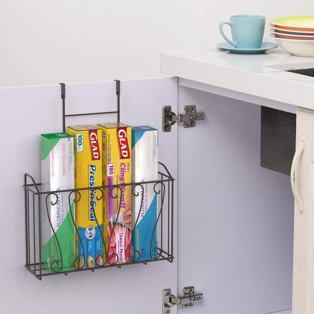 NEX Over The Cabinet Door Organizer Cabinet Storage Basket for Cutting Board, Aluminum Foil, Cleaning Supplies, Brown