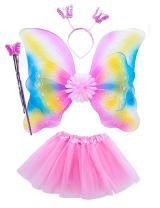 Lujuny Fairy Wing Costume Set - Butterfly Wings Tutu Dress Magic Wand and Headband