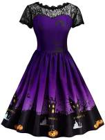 Vanbuy Womens 50s Pin Up Halloween Dress Costume Rockabilly Cocktail Party Dress