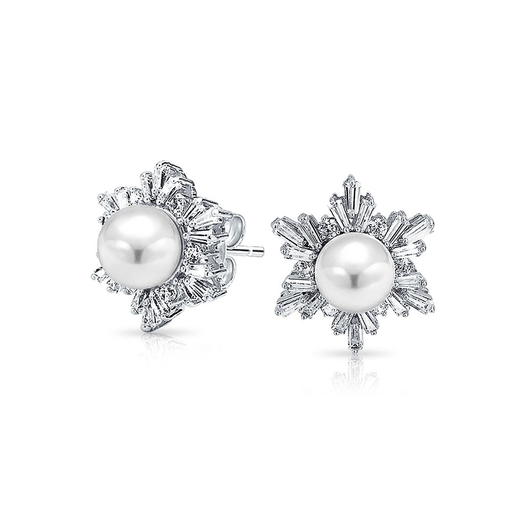 Bridal Holiday CZ Cubic Zirconia White Simulated Pearl Flower Star Snowflake Stud Earrings For Women Silver Plated