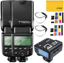 Godox TT600S GN60 HSS 1/8000S 2.4G Wireless 2X Camera Flash Speedlite Built in Godox X System Receiver with Godox X2T-S Flash Trigger Transmitter Compatible for Sony Camera