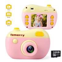 Kids Camera Gift for Girls, Digital Cameras Toy for Boy Child 3-8 Years Old, Also As Game Console / Shockproof 8MP HD Cacorder 1080P Video for Outdoor Indoor Play (16GB TF Card Included)
