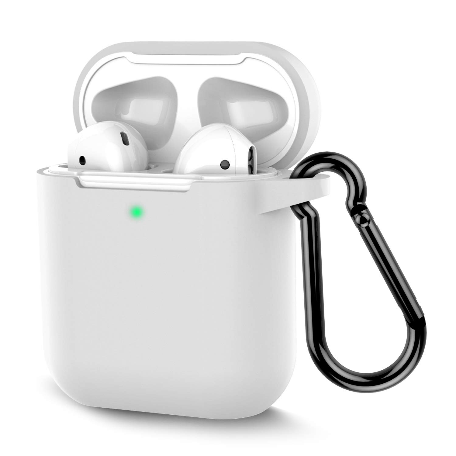 Coffea AirPods Case, Protective Silicone Cover Skin with Keychain for AirPods 2 Wireless Charging Case [Front LED Visible] (White)