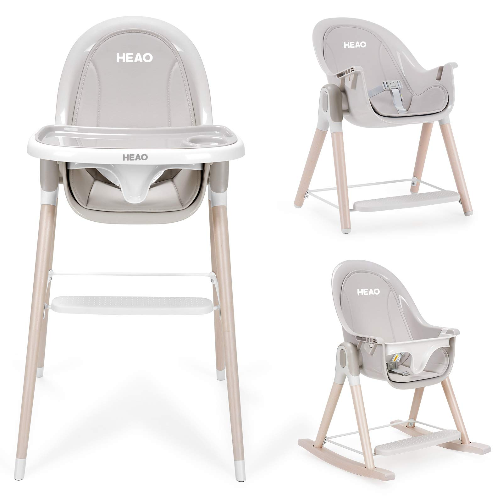 HEAO 4 in 1 Baby High Chair, Convertible Reclining High Chair/Wooden Rocking Chair/Booster Seat/Toddler Chair & Table, w/ Double Removable Tray & PU Cushions for Baby/Infants/Toddlers,Gray