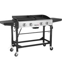 Royal Gourmet GD401 Portable Propane Gas Grill and Griddle Combo,4-Burner,Griddle Flat Top, Folding Legs,Versatile Outdoor Camping Stove with Side Table