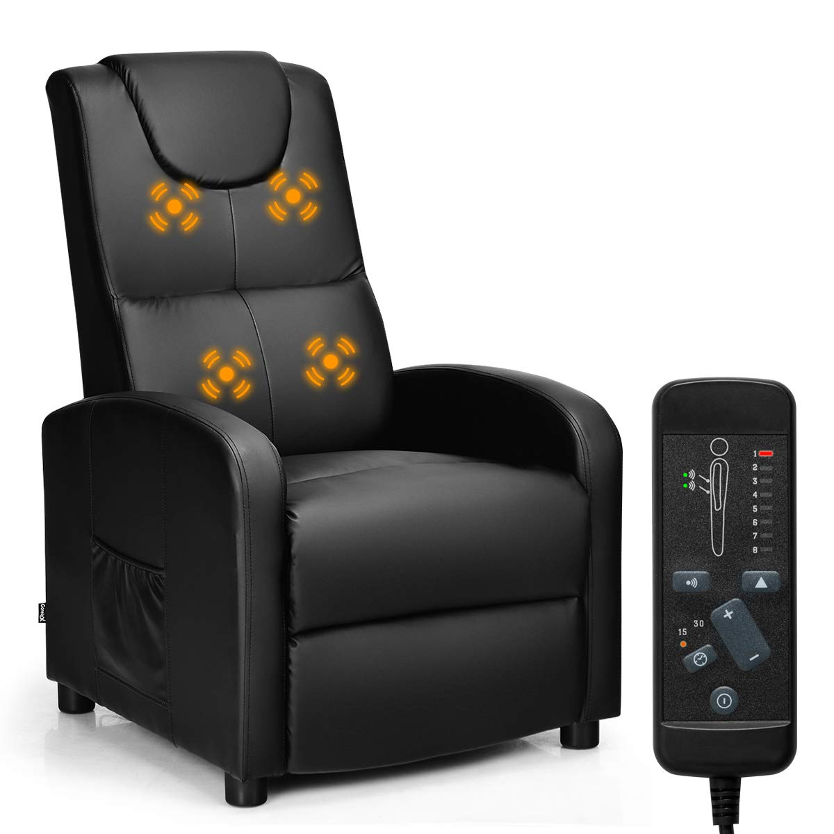 Giantex Massage Recliner Chair Single, Padded Seat Cushion and Foldable Footrest, PU Leather, Remote Control, Home Theater Seating, Modern Lounge Chaise, Living Room Office Recliner (Black)
