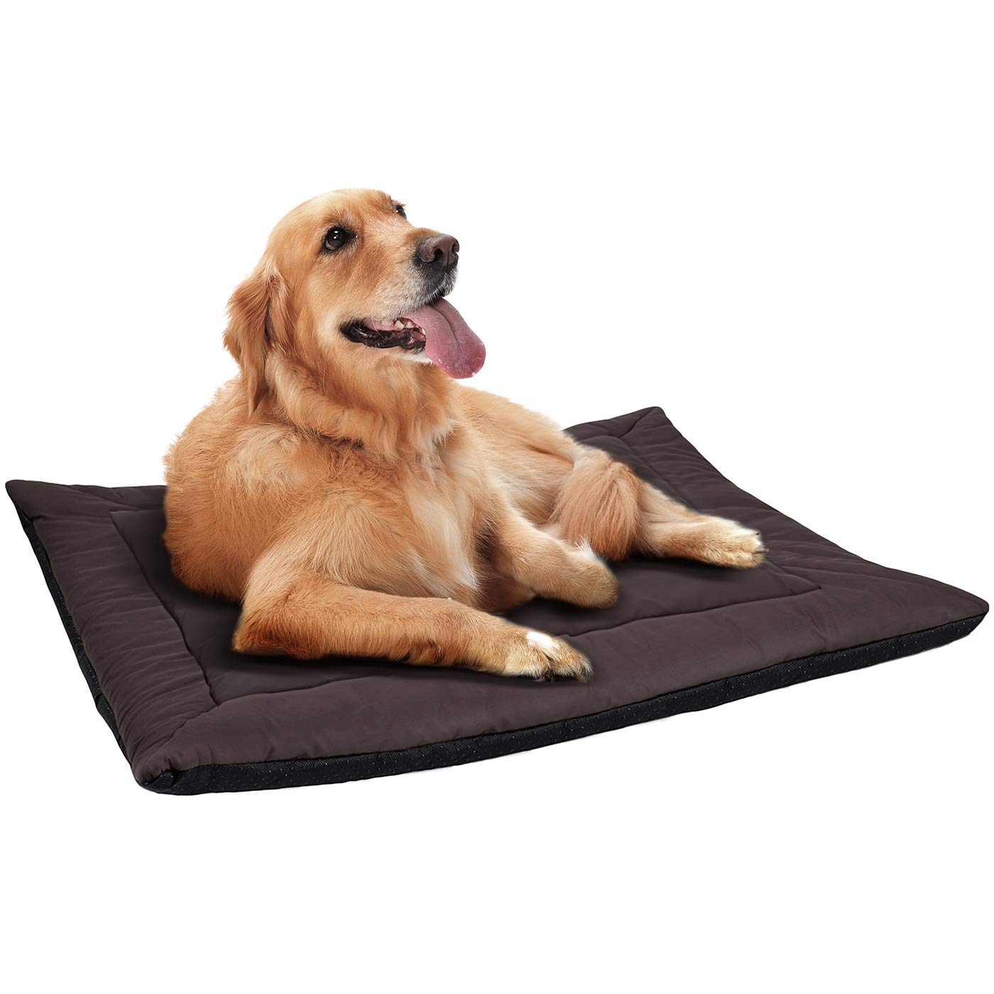 """Paws & Pals 37"""" x 25"""" Inches Self Warming Pet Bed Cushion Pad Dog Cat Cage Kennel Crate Soft Cozy Mat - Brown"""