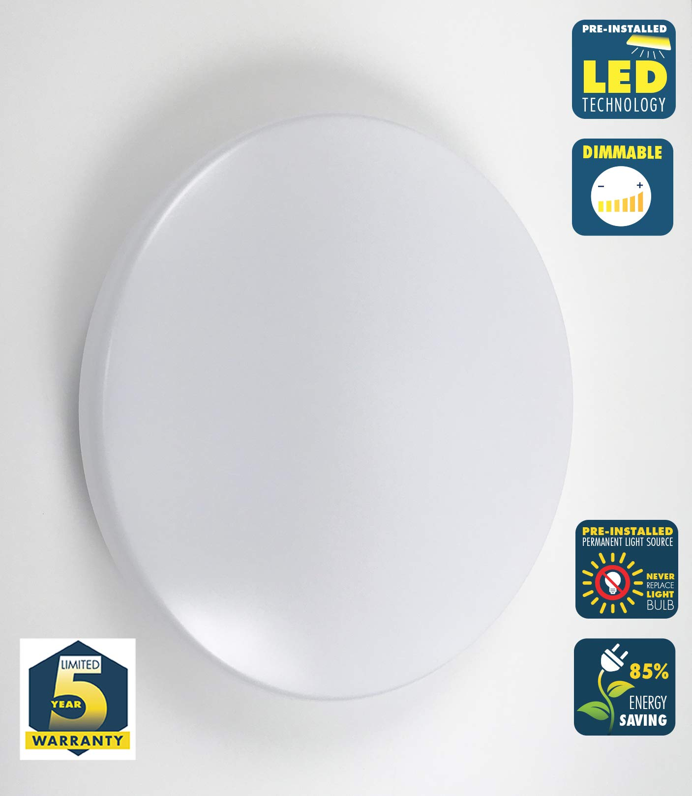 CORAMDEO 13 Inch Round LED Ceiling Light for Hallway, Bedroom, Closet and Laundry, Built in LED Gives 125W of Light with 17.5W of Power, 1300 Lumens, 3K, Dimmable, White Finish with Acrylic Cloud Lens