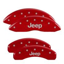 MGP Caliper Covers 42002SJEPRD 'Jeep' Engraved Caliper Cover with Red Powder Coat Finish and Silver Characters, (Set of 4)