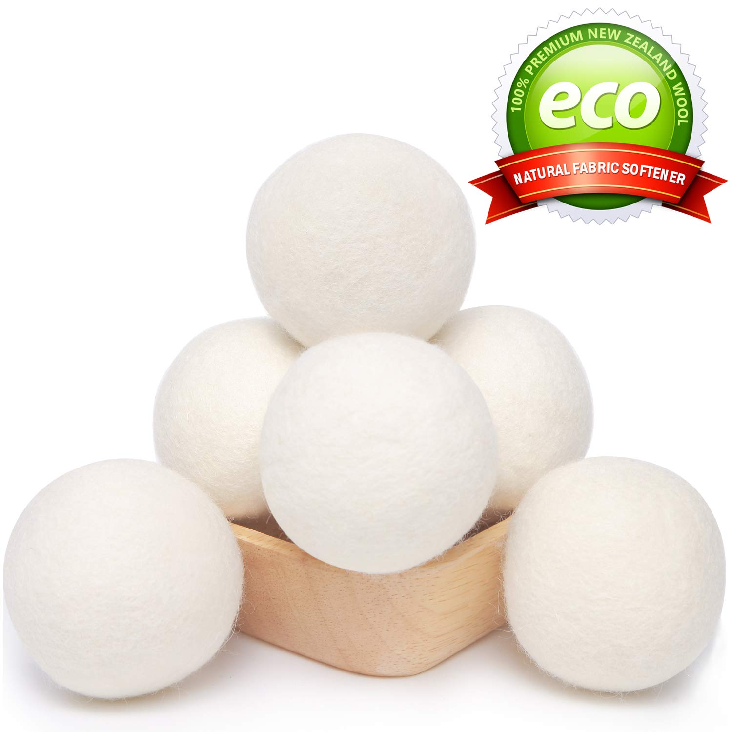Wool Dryer Balls Laundry XL 6-Pack 100% Organic New Zealand Wool, Handmade Eco Dryer Balls Reusable Natural Fabric Softener, Dryer Sheets Alternative, Reducing Wrinkles, Hypoallergenic, Chemical Free