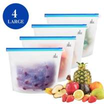 Jaoul Reusable Silicone Food Storage Bag (Set of 4)- 4xLARGE Size 50oz, Food Grade Silicone Reusable Steamer Freezer Microwave Bags for Food Liquid Storage Bag Container Home Kitchen Organization
