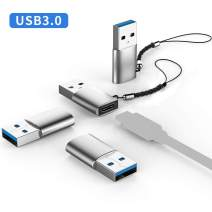 USB C Female to USB 3.0 Male Adapter (4 Pack) Type C to USB A Connector Keychain Compatible with Chargers Laptops Power Banks