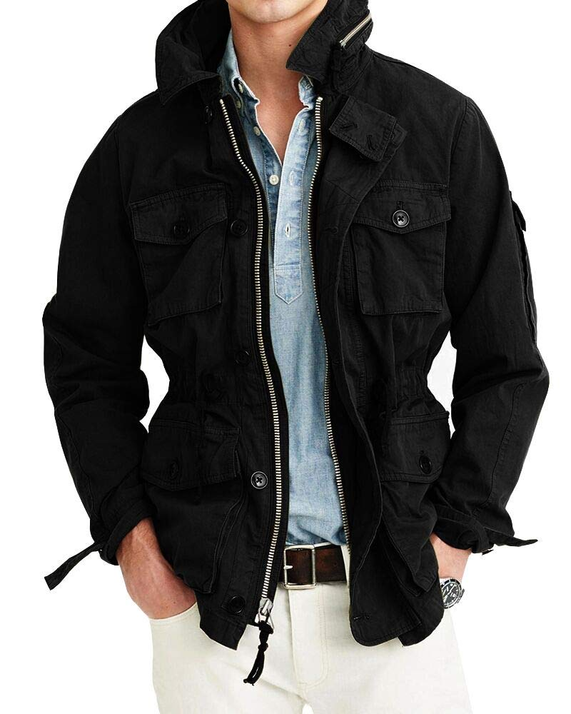 Hestenve Mens Lightweight Military Jacket Cotton Multi Pockets Windbreaker Outdoor Coat