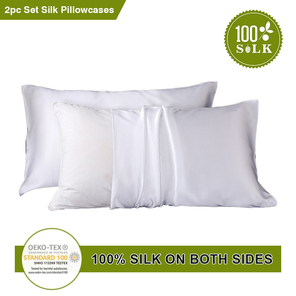 LilySilk 2pc Silk Pillowcase Set Standard Luxury Both Sides Real 19 Momme Mulberry Charmeuse White Standard