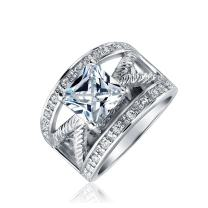 Bling Jewelry Art Deco Style 3CT Open Wide Band Princess Cut Square Pave Cubic Zirconia AAA CZ Engagement for Women Ring Silver Plated