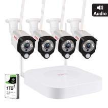 [Audio Recording] Tonton 1080P Full HD Security Camera System Wireless,8CH NVR Recorder with 1TB HDD and 4PCS 2MP Outdoor Indoor Bullet Cameras with PIR Sensor,Easy Installation,Plug and Play