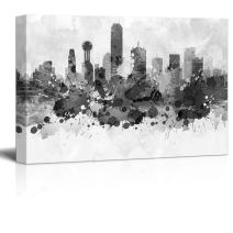wall26 - Black and White City of Dallas in Texas with Watercolor Splotches - Canvas Art Home Decor - 32x48 inches