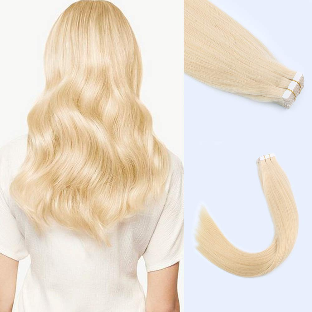 """Lovrio 22"""" 20pcs 50g Tape in Hair Extensions Seamless Skin Weft Color Bleach Blonde Pre Taped Double Sided"""