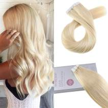 Moresoo Tape in Remy Human Hair 20 Inch Seamless Hair Extensions Color 613 Bleach Blonde Tape in Hair Extensions Blonde 20PCS 50G Real Human Hair Skin Weft