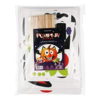 Unomor Halloween Pumpkin Decorating Craft Kit Stickers – Makes 24 Pumpkins (12 Designs with 2 Sizes & 30 Wood Sticks) Halloween Party Supplies Trick or Treat Party Favors