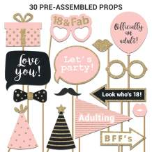 Fully Assembled 18th Birthday Photo Booth Props. 30 Piece Box Set of Pink, Rose Gold and Black Accessories with Real Glitter. Original Designs Need No DIY. Bday Selfie Party Supply and Decoration Kit.