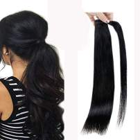 Full Shine Wrap Ponytail Hair Extensions Color 1 Jet Black 16 Inch Clip In Ponytails Brazilian Human Hair Extensions For Women Real Hair Ponytails 80 Gram Straight Hair
