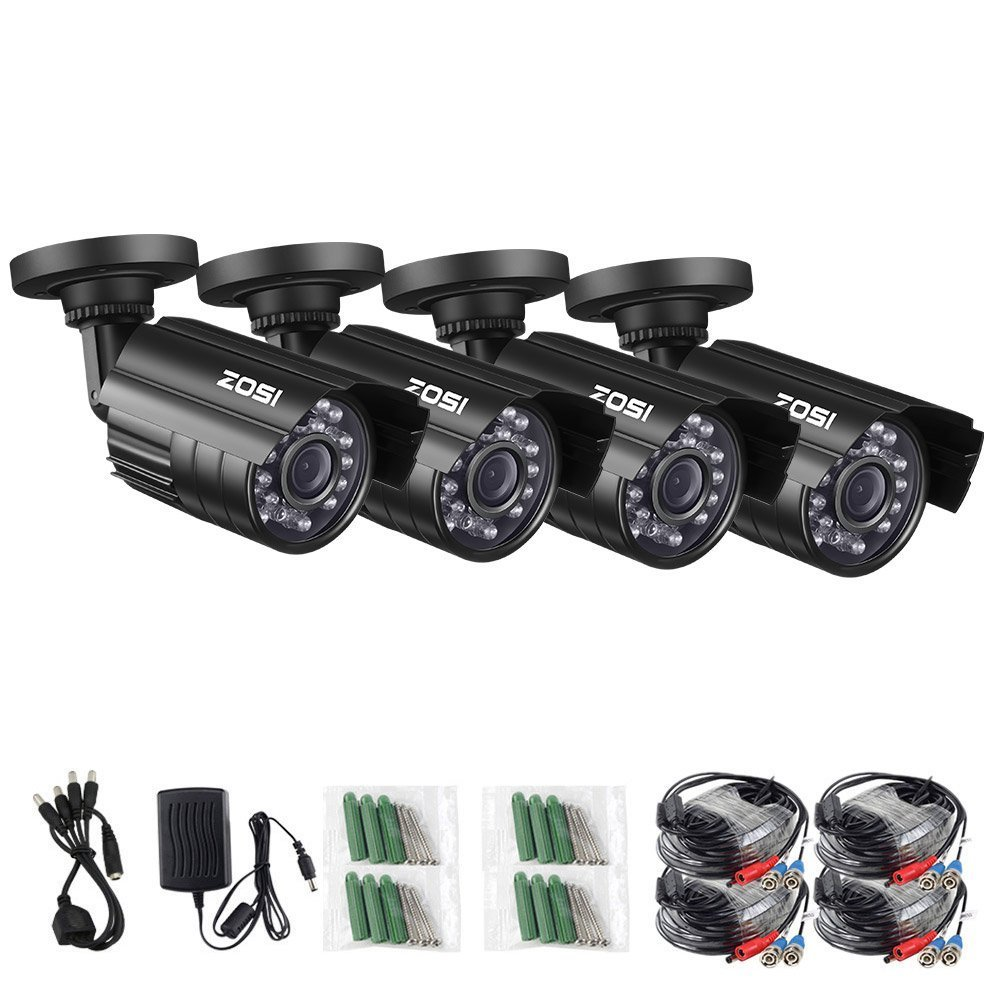 ZOSI 4 Pack HD-TVI 1280TVL 1.0MP Security Camera 720P 3.6mm Lens 24 IR LEDs Waterproof IP67 Infrared Night Vision HD Bullet Camera For 720P/1080N/1080P HD-TVI DVR systems (Renewed)