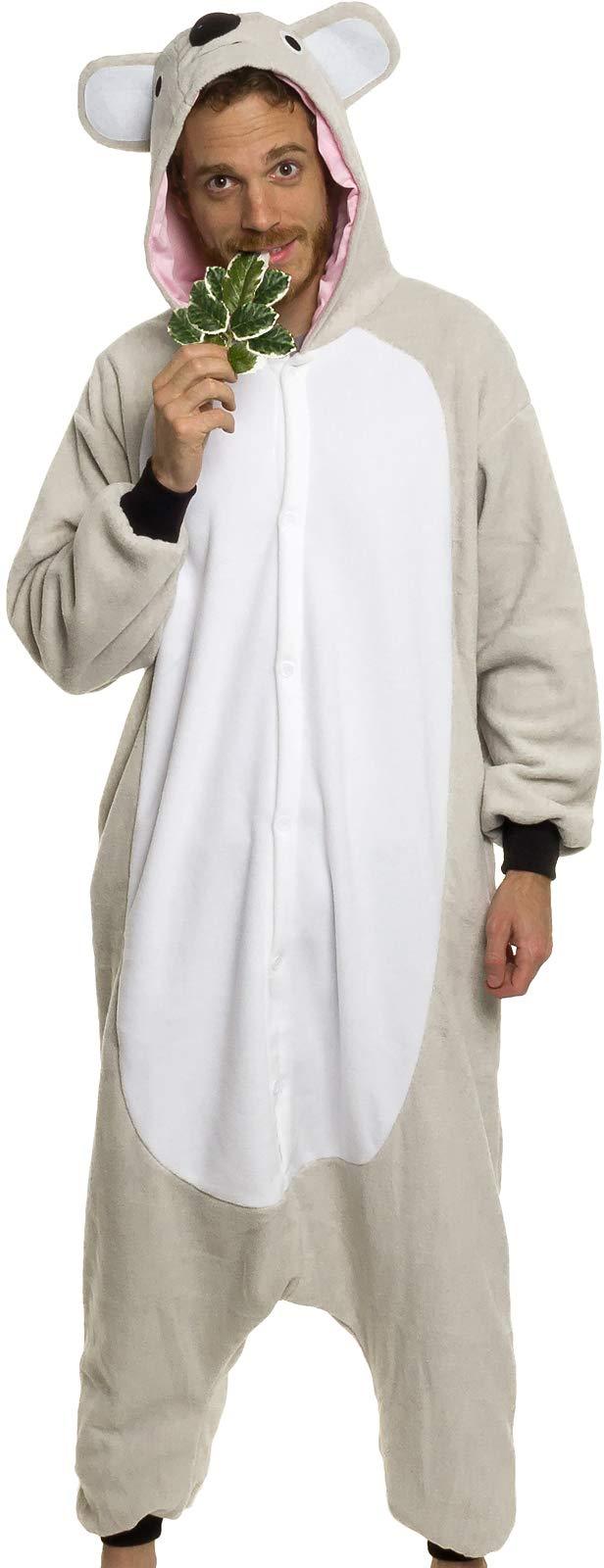 Silver Lilly Unisex Adult Pajamas - Plush One Piece Cosplay Koala Animal Costume
