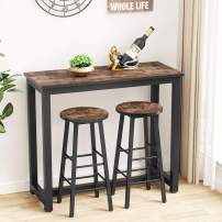 Tribesigns 3-Piece Pub Table Set, Counter Height Breakfast Bar Table with Stools Kitchen Bar Table for Dining Room, Breakfast Nook, Living Room, Small Space (Rustic Brown)