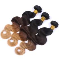 ESSVIGANT 8A Virgin Ombre Hair Brazilian Body Wave 3 Tone Human Hair Extension 3 Pcs Lot Full Ends Hair Weft (12 14 16 inch)