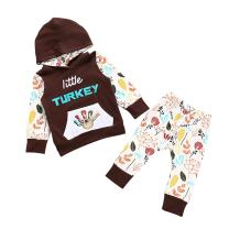 GRNSHTS Baby Girls Boys Little Turkey Thanksgiving Pants Set Long Sleeve Hoodie + Pants