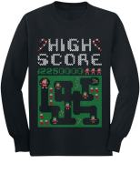 Santa Video Game Ugly Christmas Sweater Style Youth Kids Long Sleeve T-Shirt