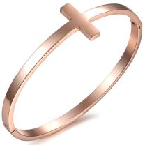 Oidea Womens High Polished Stainless Steel Cross Cuff Bangle Bracelet for Birthday, 6.5 Inch,Silver,Rosegold
