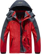 Vcansion Men's Waterproof Mountain Jacket Fleece Outerwear Windproof Ski Jacket Snow Jacket Raincoat