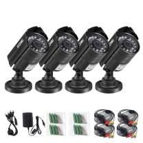 ZOSI 4PK 1080P 4-in-1 HD TVI/CVI/AHD/CVBS Security Camera 3.6mm Lens 24 IR-LEDs CCTV Camera Home Security Day/Night Waterproof Camera for 960H/ 720P / 1080N / 1080P Analog DVR Systems (Renewed)