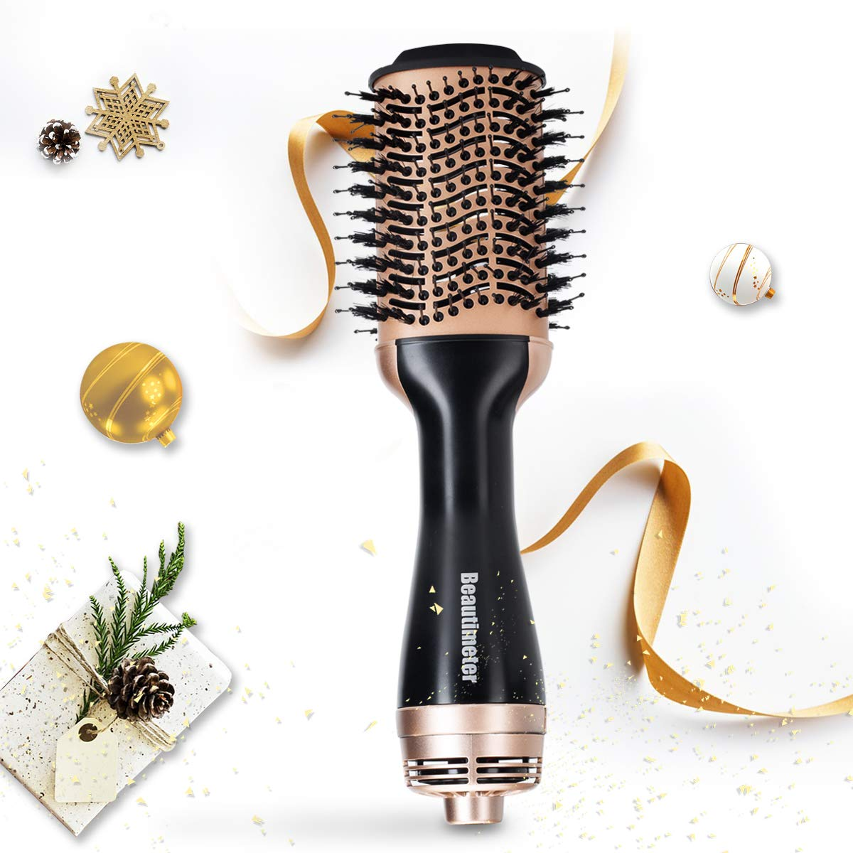 Hot-Air Brush, Negative Ionic Hair Dryer & Volumizer, One Step Hair Styler, Achieve Salon Styling at Home, 1000W, Black & Gold