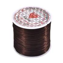 1 Roll 60M Crystal Stretch Elastic Craft Bracelet Beads Thread String Cords for DIY Jewelry Making 0.3mm×1mm×60m Coffee