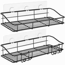 ODesign Adhesive Shower Caddy Shelf with Hooks Razor Bath Sponge Holder Bathroom Storage Organizer Spice Rack Wall Mount No Drilling SUS304 Stainless Steel [13.39 x 4.33 x 2.36 inches] Black - 2 Tier