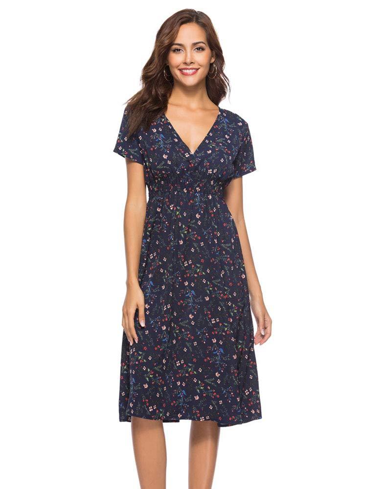 Sobrisah Women's Casual V Neck Short Sleeve Elastic Waist Floral Print Flowy Chiffon Midi Dress